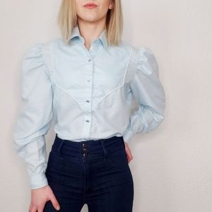 Vintage Western Blue Pearl Snap Button Up Shirt